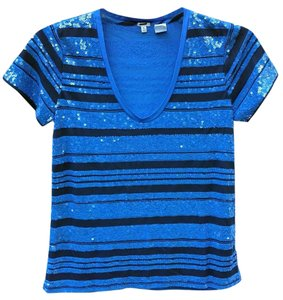 J.Crew Viscose Striped T Shirt Blue