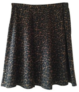 Ann Taylor Silk Leopard Mini Skirt Animal Print