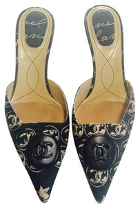 Chanel Kitten Heels Sandals Dark green Mules