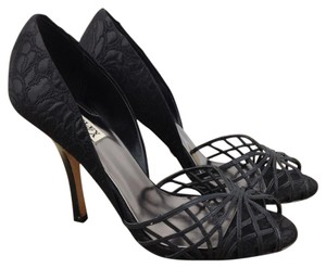 Badgley Mischka Cut Out D'orsay Fabric Flower Black Sandals