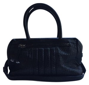 AllSaints Leather Gunmetal Biker Bowlingbag Satchel in Black