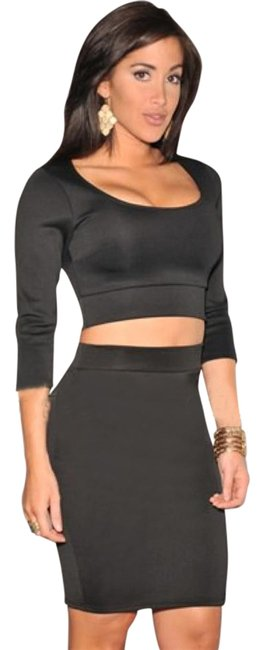 Item - Black 3/4 Sleeves Two Piece Set Above Knee Night Out Dress Size 4 (S)