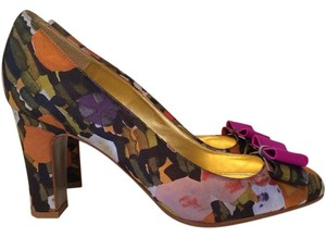J.Crew Heels Bow Pump Purple, Orange, Green Floral Pumps