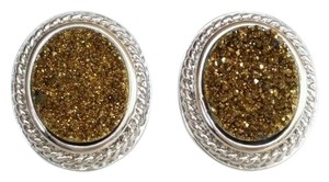 Royale Bijoux New Royale Bijoux Sterling Silver 925, Gold Oval Druzy Pierced Stud Button Earrings