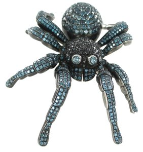 dash 10KT WHITE GOLD HAIMOV DAMON DASH TARANTULA SPIDER PENDANT BLUE BLACK DIAMONDS