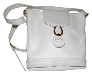 Gucci Style Equestrian Accents Gold Hardware Great Summer Excellent Vintage Satchel in white small G logo coated canvas & white leather