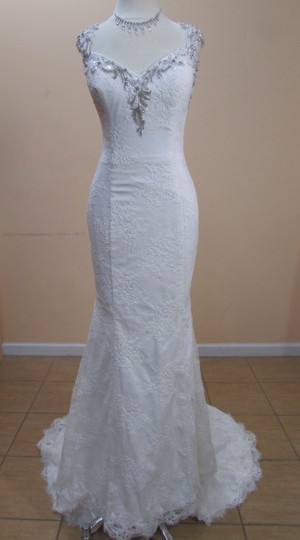 DaVinci Bridal Ivory Lace 50307 Formal Wedding Dress Size 10 (M)