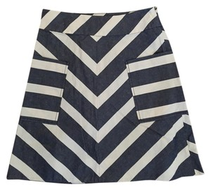 Anthropologie A-line Chevron Skirt Navy chevron