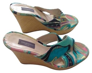 Emilio Pucci Wedge Sandals Aqua Blue- MULTICOLOR PRINT Wedges
