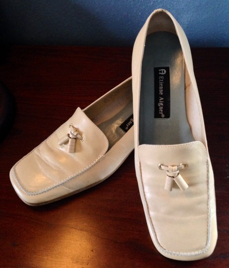 Etienne Aigner Leather Tassels All Leather Upper Off white/Tan Flats