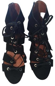 Lucky Brand Caged Sandal Black suede Sandals