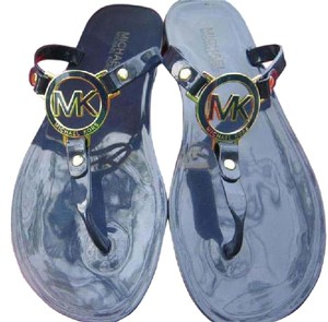 Michael Kors Flats Flip Flops Color Logo Navy and gold Sandals