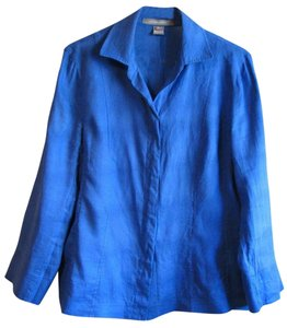 Ellen Tracy Button Down Shirt Royal blue linen