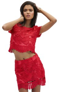 Lovers + Friends Lace Crop Top Coral