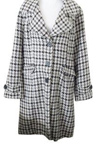 Coffee Shop Retro Houndstooth Longsleeve Wool Modern Classic Pea Coat