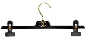 Chanel Chanel Paris Black Velvet Finish Clothing Hanger Storage with Clips for Pants