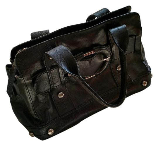Kenneth Cole Leather Buckle Satchel in Black