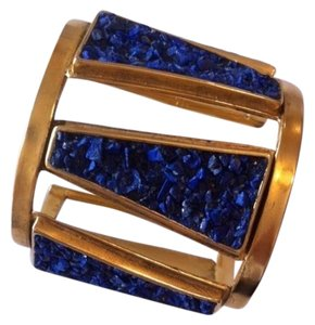Lady Grey Jewelry Lady Grey Jewelry Vex Crest Cuff in 14K Gold Plated and Crushed Lapis