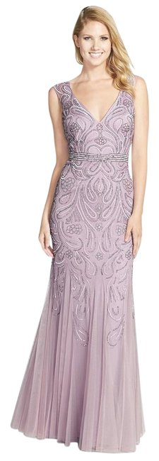 Item - Lilac V-neck Beaded Paisley Gown Long Formal Dress Size 4 (S)