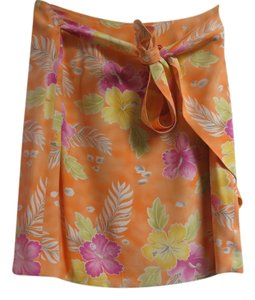Dana Buchman Silk Wrap Mini Mini Skirt Orange, Pink,Yellow & Green