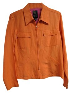 Dana Buchman Silk Linen Sz 8 Orange Jacket