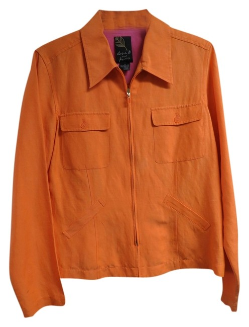Preload https://img-static.tradesy.com/item/1735178/dana-buchman-orange-silklinen-zippered-spring-jacket-size-8-m-0-0-650-650.jpg