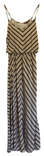 Item - Cream and Charcoal Striped Long Casual Maxi Dress Size 4 (S)