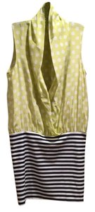 Neiman Marcus Thayer Stripes Polka Dots Top Yellow, White, Navy