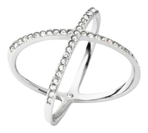 Michael Kors Michael Kors Silver-Tone Pave Clear Crystal X Ring size6 dust bag