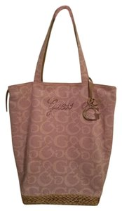 Guess Classic Limited Edition Silver Hardware Canvas Tote in Diamond Studded in Pink