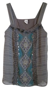 Anthropologie Chiffon Embroidery Beading Top Gray, Silver, Turqoise, Teal