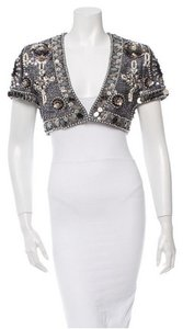 Escada Embellished Sequin Shrug Capelet Bolero Top Grey, Multicolor