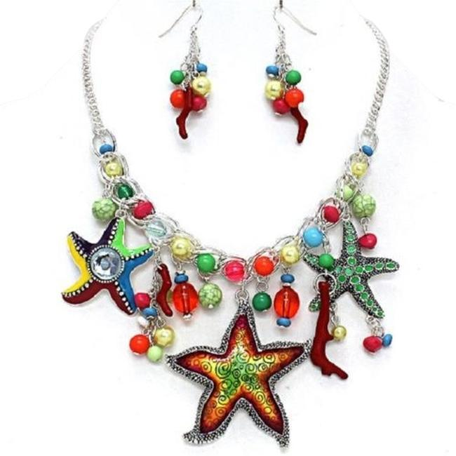 Multicolor Russian Silver Crystal Starfish Pearl Drop Chain Pendant Earring Set Necklace Multicolor Russian Silver Crystal Starfish Pearl Drop Chain Pendant Earring Set Necklace Image 1