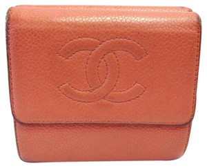 Chanel #7474 timeless CC orange caviar leather double sided wallet