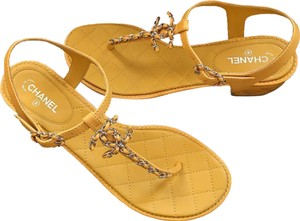 Chanel Chain Quilted Flats Size 38.5 yellow Sandals