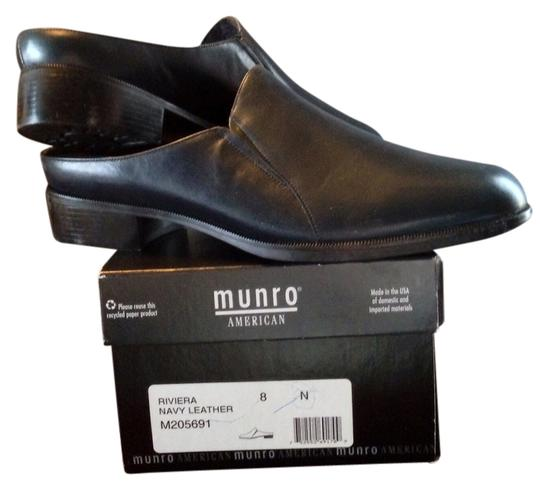 Munroe American Leather Never Worn Packaging Navy Mules