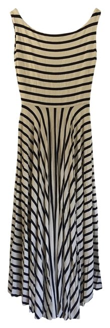 Item - Cream and Navy Stripe Tarr Mid-length Casual Maxi Dress Size 8 (M)