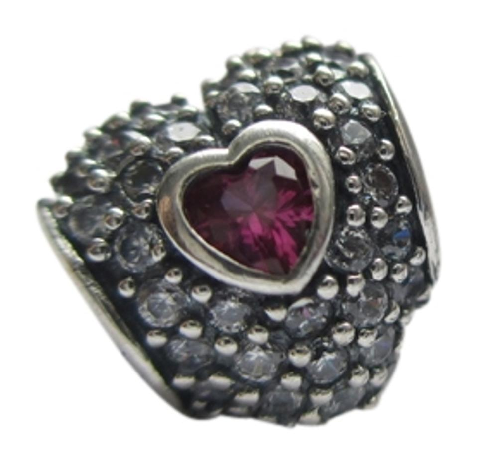 fb4313b9b PANDORA Authentic PANDORA Silver CLEAR CZ Synthetic RUBY Pave Charm In my  heart Image 0 ...