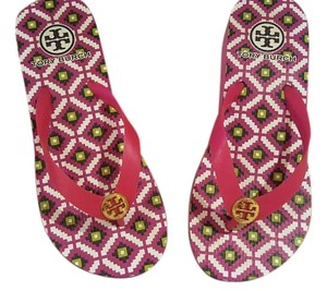 Tory Burch Hibiscus Pink with navy pattern Sandals