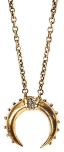 Lady Grey Jewelry Studded Crescent Gold Plated Necklace