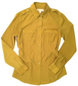 Michael Kors Buiness Casual Button Down Shirt Mustard Yellow