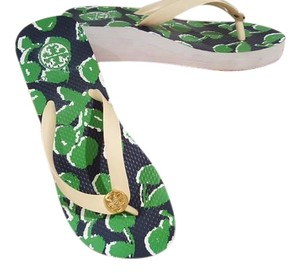 Tory Burch White with navy and green cherry pattern Sandals