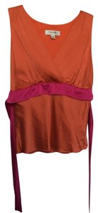 Isaac Mizrahi Magenta Fuschia Silk Sleeveless Top Orange & Pink