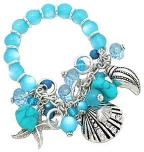 Nautical Sea Ocean Howlite Marbelized Blue Beads Silver Shell Starfish Bracelet