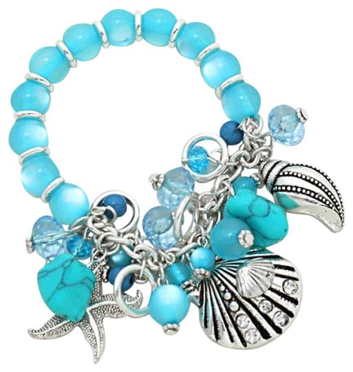Other Nautical Sea Ocean Howlite Marbelized Blue Beads Silver Shell Starfish Bracelet