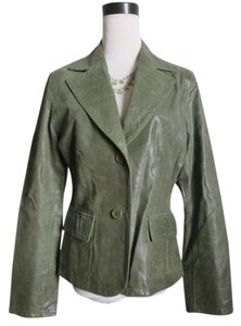 Vintage Distressed Leather Green Leather Jacket