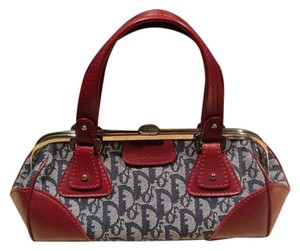 Dior Monogram Satchel in Blu/Red