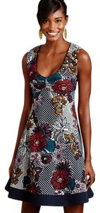 Anthropologie short dress Blue, White, Red Fit And Flare Keyhole on Tradesy