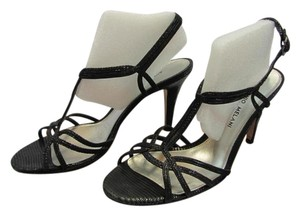 Antonio Melani Size 8.00 M Leather Soles Black Sandals