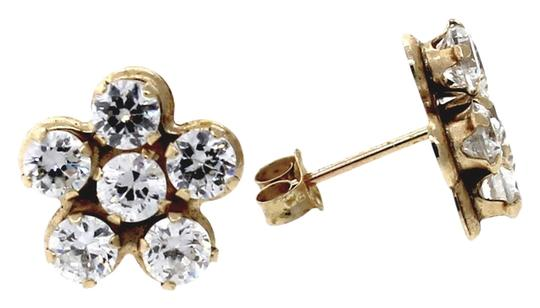 Other Vintage 14K Yellow Gold 1.15ctw Round Diamond Prong Set Flower Stud Earrings
